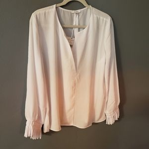 Sioni white blouse top xl with fringe sleeves
